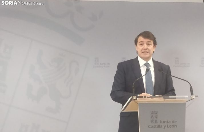 Rueda de prensa de Mañueco en Soria.