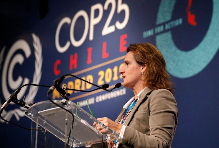 Teresa Ribera durante la cumbre del clima de Madrid.