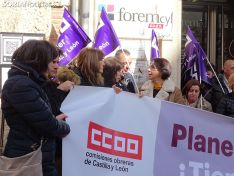 Concentración en CCOO este viernes 7 de febrero.
