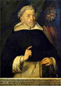 Copia del cuadro original de Fray Julián, existente en la catedral de Puebla, que incluye la leyenda 'natural de Aragón'
