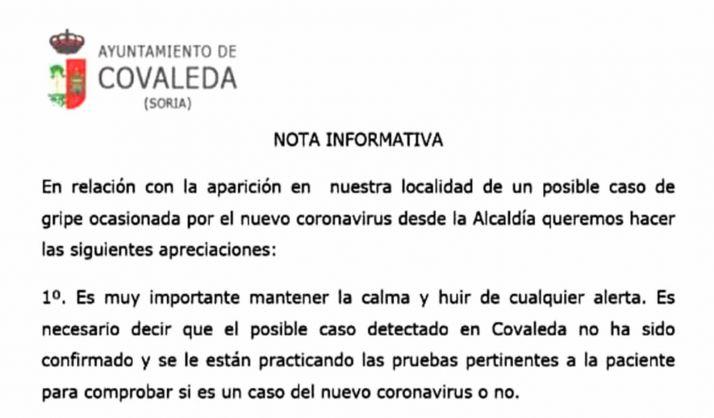 El encabezado de la nota distribuida por el Ayuntamiento.