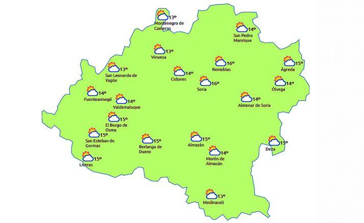 El pronóstico a las 14:00 horas. /eltiempo.es