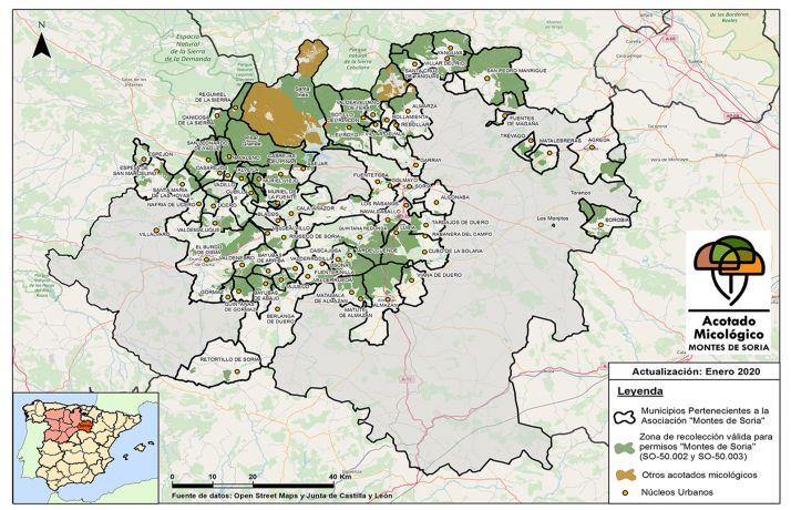 Mapa Montes de Soria y otros acotados con fecha de enero de 2020.