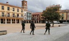 Componentes del batallón en la plaza principal de la villa adnamantina. /SdG