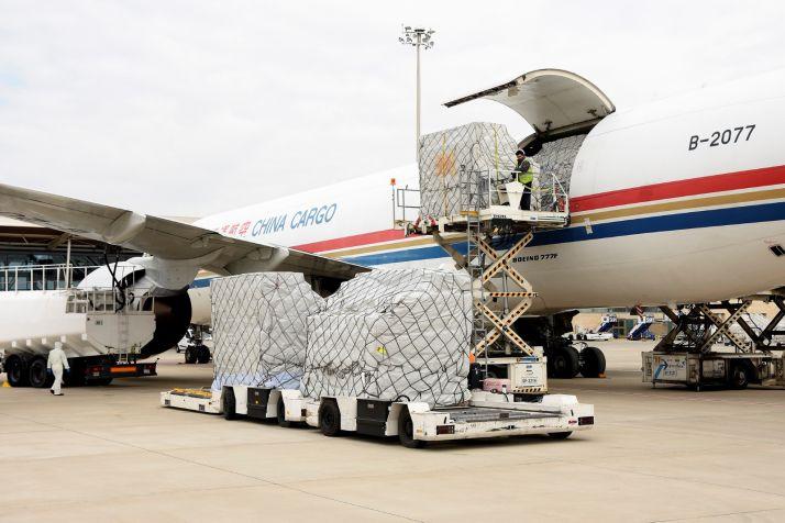 Imágenes de la llegada del vuelo procedente de China.