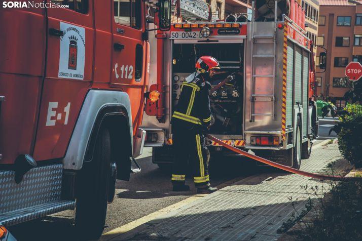 Un bombero realizando tareas de prevención.