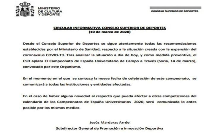 La circular remitida por el CSD.