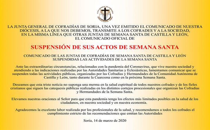 El comunicado remitido por la Hermandad de Cofradías.