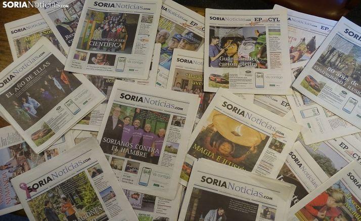 Ejemplares de la edición en papel de Soria Noticias. /SN