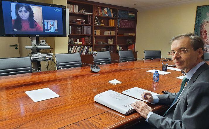 El consejero de Industria, durante la videoconferencia con representantes de los autónomos.