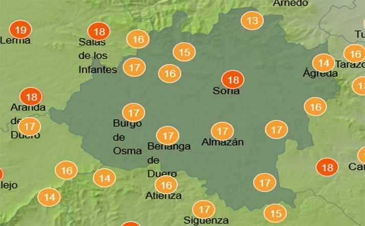 Mapa con las temperaturas a las 14:00 horas. /AEMET
