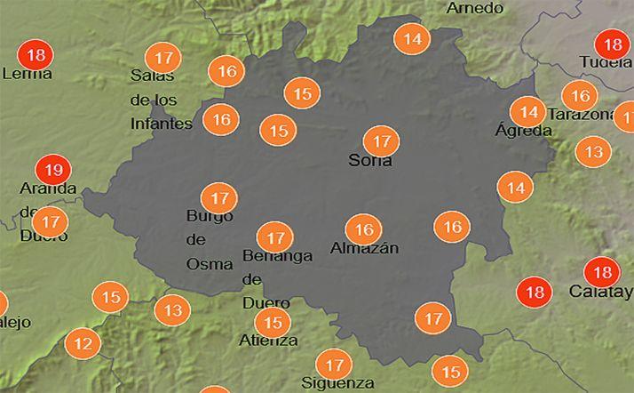 Pronóstico de temperaturas a las 15:00 horas. /AEMET.