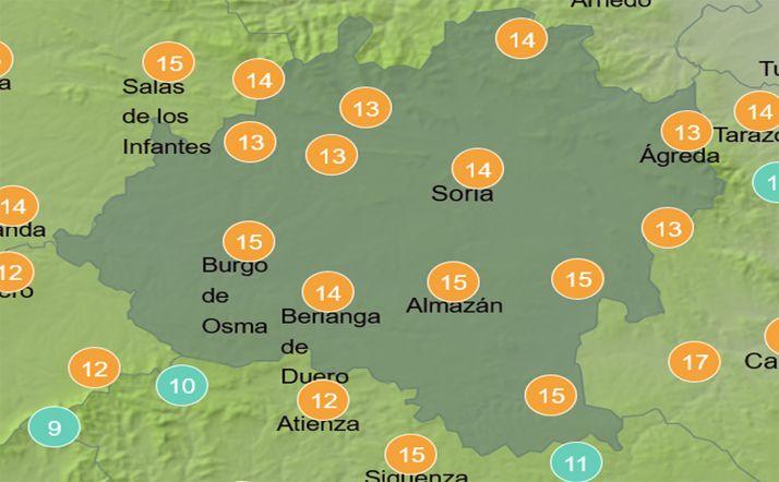 Previsión de temperaturas a las 15:00 horas. /Aemet