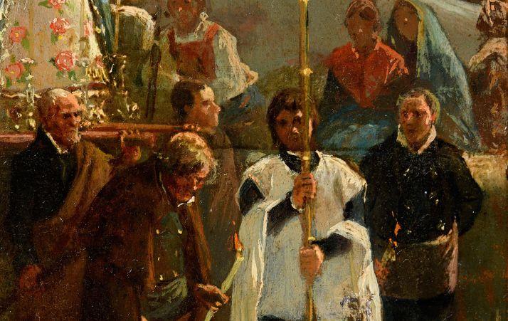 Detalle del cuadro 'Procesión en Noviercas', de Valeriano Bécquer, recién restaurado por la Junta y propiedad de la Diputación.