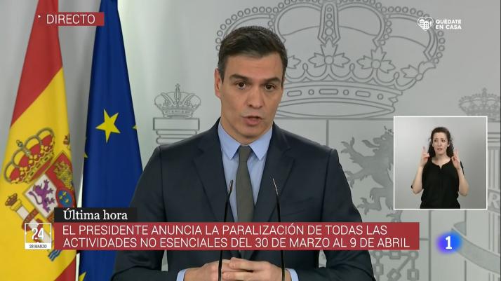 Sánchez anuncia el cierre del sistema productivo no esencial durante dos semanas