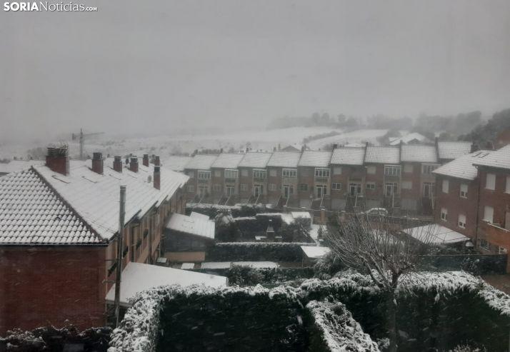 La nieve ha teñido también de blanco el municipio de Golmayo.