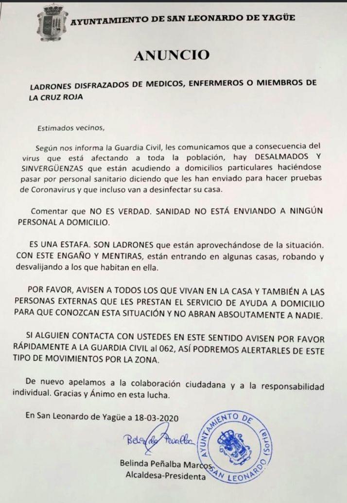 Anuncio del Ayuntamiento de San Leonardo de Yagüe.
