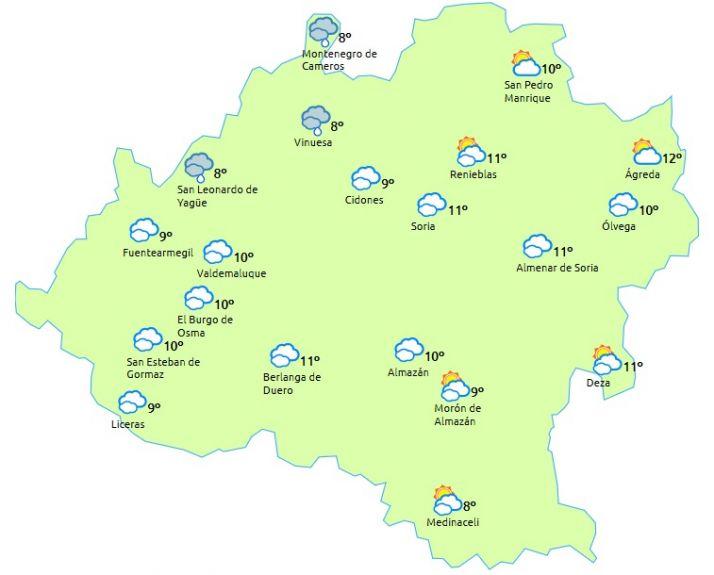 El tiempo en Soria a la 13.00 horas. /eltiempo.es
