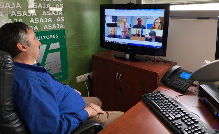 Gómez, durante la videoconferencia. /ASAJA Soria