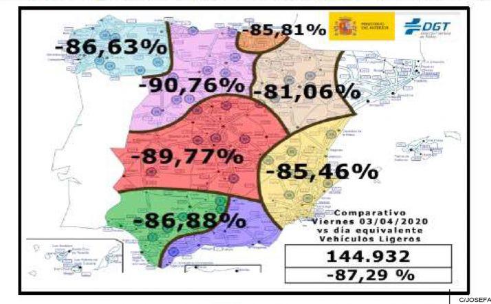Mapa con los porcentajes en la reducción del tráfico de vehículos ligeros. /SdG