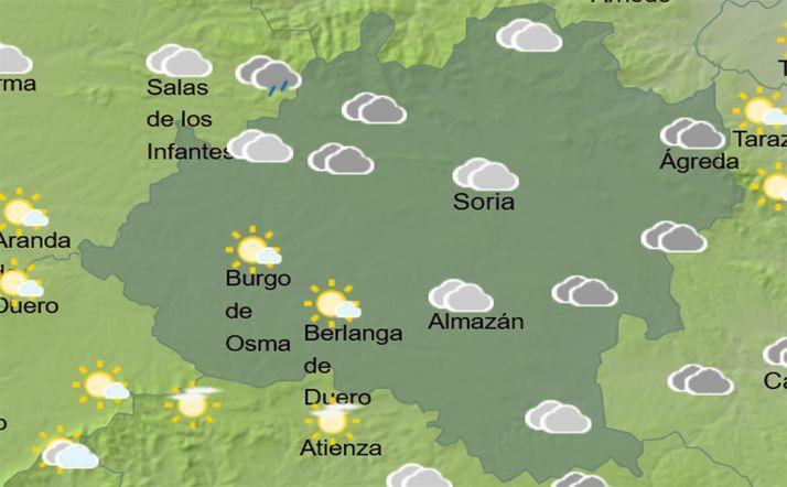El cielo en la provincia a las 14:00. /AEMET