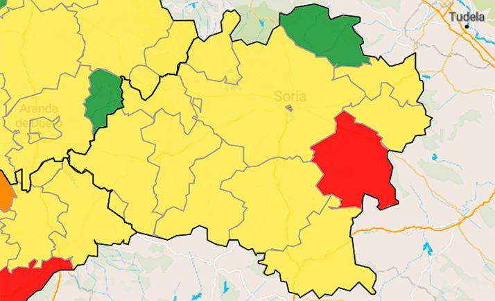 Mapa de la situación de infectados por áreas de salud en los últimos 7 días.
