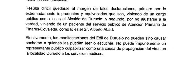 Foto 1 - El personal del Sacyl de Pinares pide una rectificación al alcalde de Duruelo