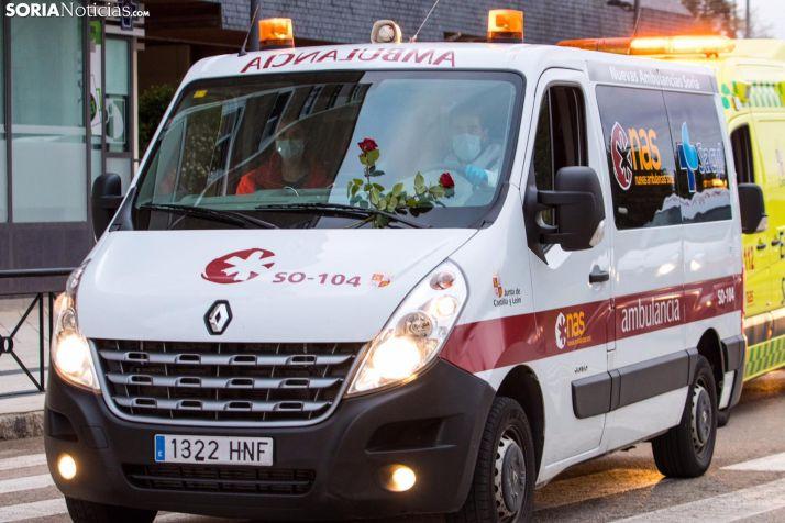 Ambulancia de Soria durante la caravana de agradecimiento. /Viksar Fotografía