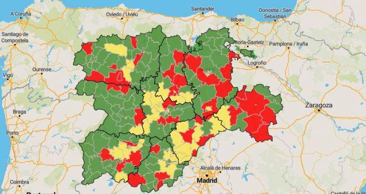 Situación epidemiológica de las Zonas Básicas de Salud de CyL en los últimos 14 días.