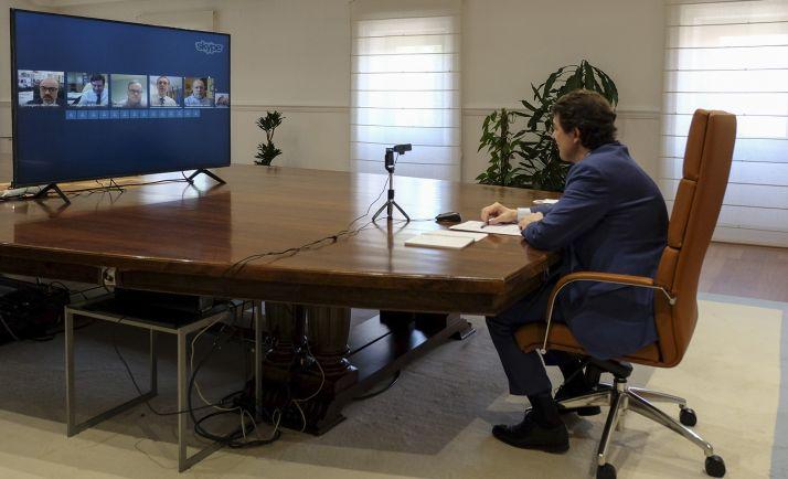 Mañueco durante la videoconferencia celebrada este martes. /Jta.