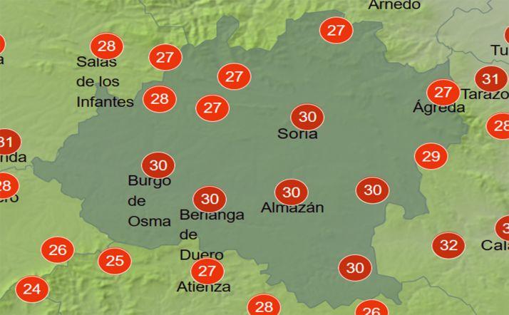 Temperaturas a las 16:00 horas. /AEMET