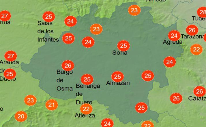 Sensación térmica a las 14:00 horas de este jueves. /AEMET