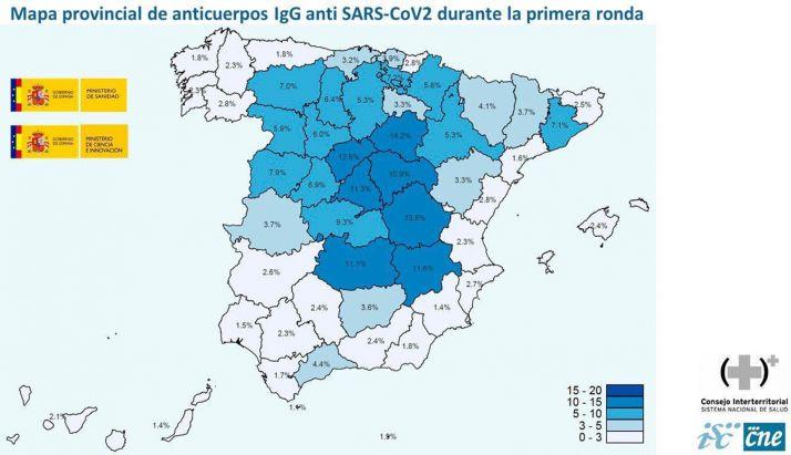 Mapa publicado este miércoles por los ministerios de Sanidad y de Ciencia.