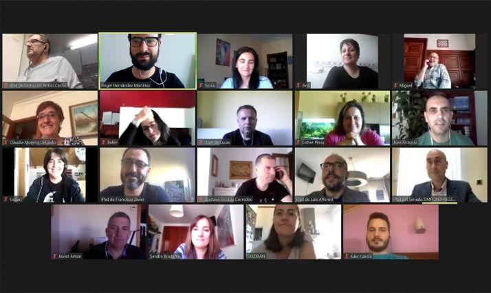 Imagen de una videocionferencia mantenida entre los miembros de la Ejecutiva provincial del partido. /PSOE