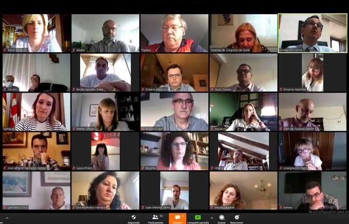 Una imagen de la videoconferencia mantenida a instancias del PP soriano con Rocío Lucas.