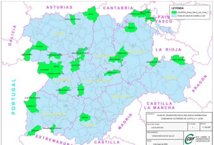 Zonas Básicas de Salud de Castilla y León que pasan a la Fase I
