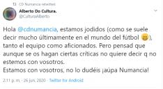 Tuits de apoyo al CD Numancia.
