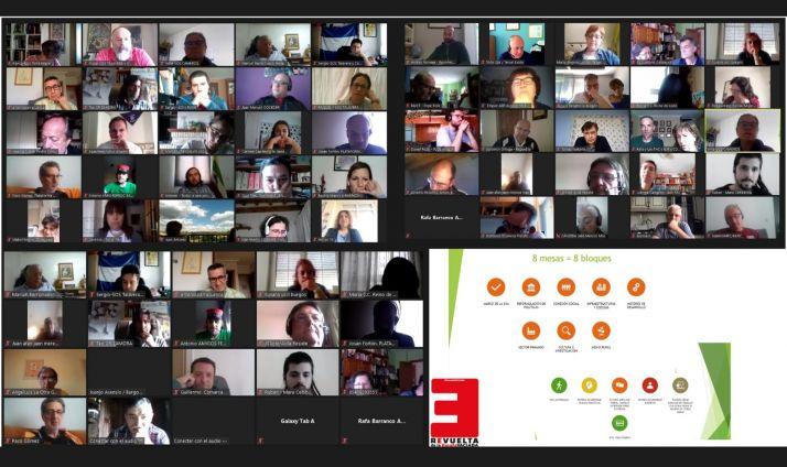 Una imagen de la video conferencia con presencia de la Soria Ya. /EVA