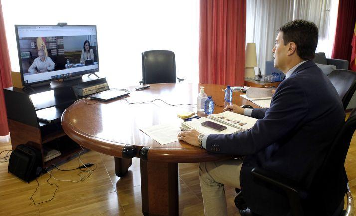 El consejero, en la videoconferencia establecida con la ministra este lunes. /Jta.