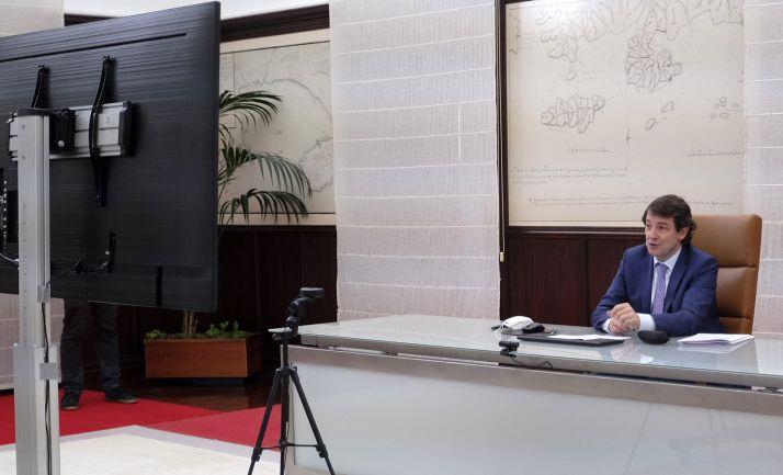 Alfonso Fernández Mañueco, en la videoconferencia de clausura. /Jta.