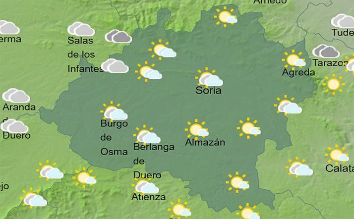 El cielo en la provincia a las 14:00 horas. /AEMET