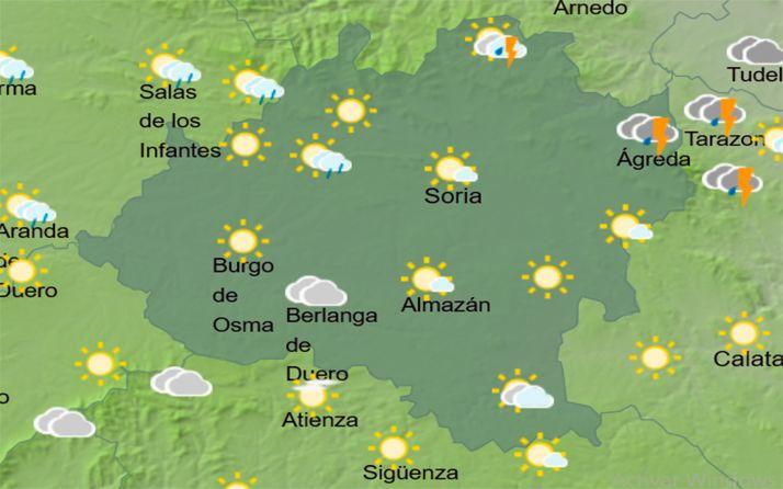 Previsión del cielo a las 14:00. /AEMET