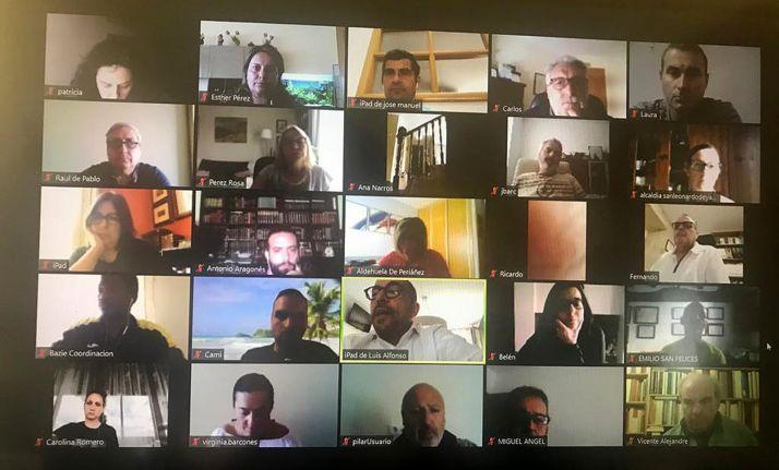 Algunos de los participantes en la conferencia online de los socialistas sorianos.