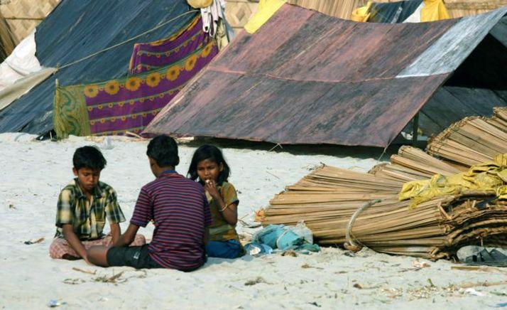 Un campo de refugiados.