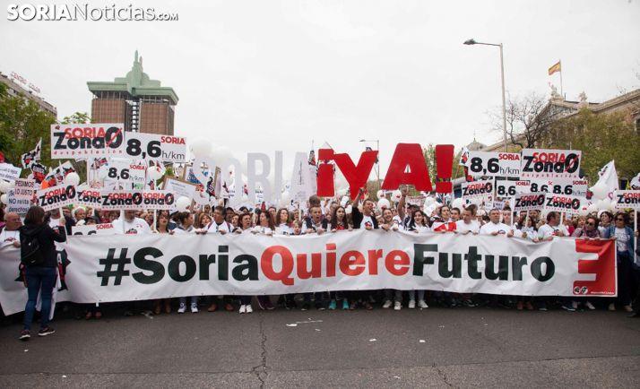 Imagen de la presencia soriana en la manifestación de Madrid el 31 de marzo del pasado año. /María Ferrer