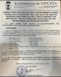El bando emitido en Vinuesa ante la visita real. /SN