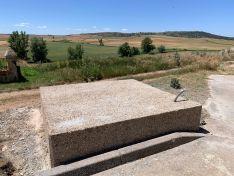La plataforma donde será instalada la obra de Miguel Ángel Sánchez. /Almarail ...es cultural