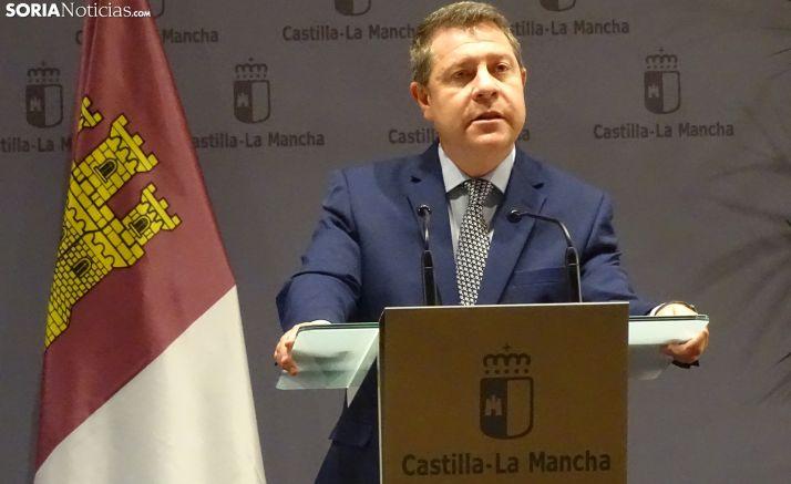 García-Page, en su intervención este viernes en Soria. /SN
