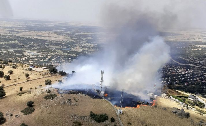 Vista aérea del incendio.