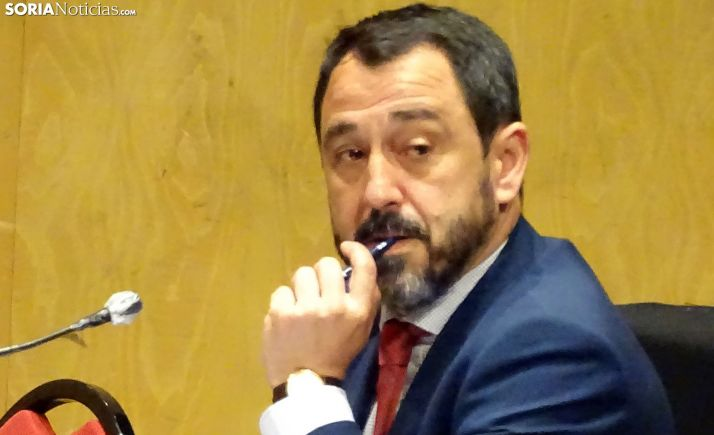 Javier Muñoz Expósito, durante el primer pleno presencial de la crisis sanitaria. /SN